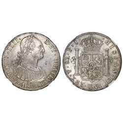 Potosi, Bolivia, bust 8 reales, Charles IV, 1808PJ, NGC MS 62.