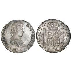 Potosi, Bolivia, bust 8 reales, Ferdinand VII, 1813PJ, king's ordinal as IIV (rare), NGC AU 55, fine
