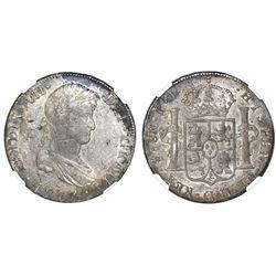 Potosi, Bolivia, bust 8 reales, Ferdinand VII, 1817PJ, NGC AU 55.