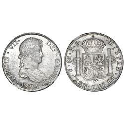Potosi, Bolivia, bust 8 reales, Ferdinand VII, 1821PJ, NGC MS 60.