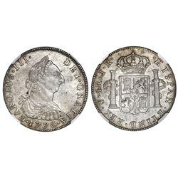 Potosi, Bolivia, bust 4 reales, Charles III, 1776JR, NGC AU 55.