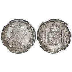 Potosi, Bolivia, bust 2 reales, Charles III, 1773JR, dot-III-dot variety, NGC AU 50.