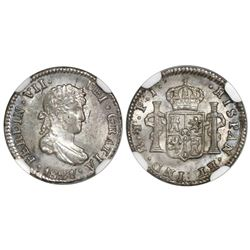 Potosi, Bolivia, bust 1/2 real, Ferdinand VII, 1821PJ, NGC MS 65.