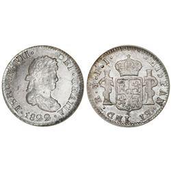 Potosi, Bolivia, bust 1/2 real, Ferdinand VII, 1822PJ, NGC MS 64.