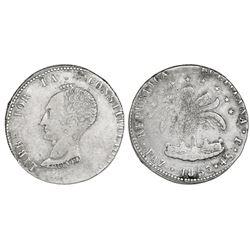 La Paz, Bolivia, 4 soles, 1853J, bare head of Bolivar, rare.