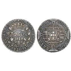 Brazil (Rio mint), 960 reis, Joao VI, 1818-R, struck over an Argentina (River Plate Provinces), 8 so
