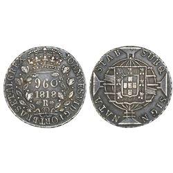 Brazil (Rio mint), 960 reis, Joao VI, 1818-R, struck over an Argentina (River Plate Provinces), 8 so