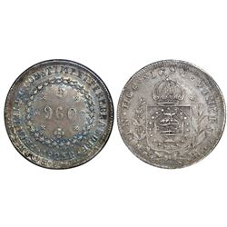 Brazil (Rio mint), 960 reis, Pedro I, 1825-R, struck over a Spanish colonial bust 8 reales of Charle