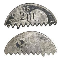 """Brazil, 1/2-cut """"balastraca"""" 200 reis (1864-70) cut from a mainland Spain bust 2 reales of Charles I"""