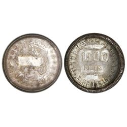 "Brazil, 1000 reis, 1911, ""capped die"" error, very rare."