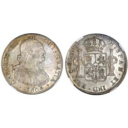 Santiago, Chile, bust 8 reales, Charles IV, 1804FJ, NGC AU 58.