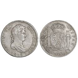 Santiago, Chile, bust 8 reales, Ferdinand VII, 1815FJ.