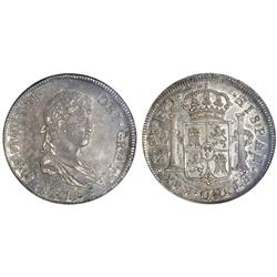 Santiago, Chile, bust 8 reales, Ferdinand VII, 1816FJ, NGC AU 58.