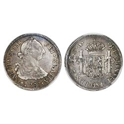 Santiago, Chile, bust 2 reales, Charles III, 1787DA, PCGS VF35, finest and only known in either PCGS