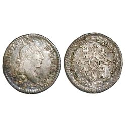 Santiago, Chile, 1/4 real, Charles IV (bust of Charles III, ordinal IIII), 1791.