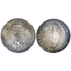 "Santiago, Chile, ""volcano"" peso, 1817FJ, Y to left, NGC AU 53."