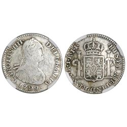 Bogota, Colombia, bust 1 real, Charles IV, 1799/99JJ, J's for I's in legends, NGC F 12, finest and o