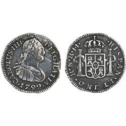 Bogota, Colombia, bust 1/2 real, Charles IV, 1792JJ.