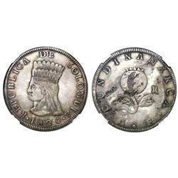 Bogota (Cundinamarca), Colombia, 8 reales, 1820JF, NGC XF 40.