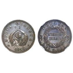 Popayan, Colombia, piefort pattern 1/2 real, 1848, NGC PF 62.