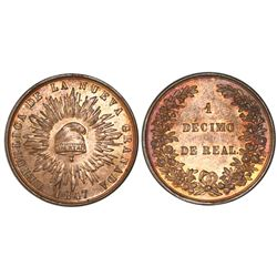 Colombia (struck in London), copper 1 decimo de real, 1847, NGC MS 64 RB.