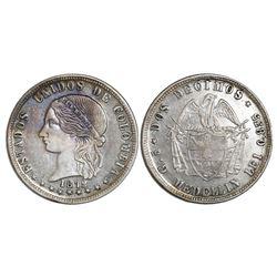 Medellin, Colombia, 2 decimos, 1872, ex-Lozano.