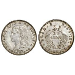 Medellin, Colombia, 20 centavos, 1874, GRAM 5 variety.