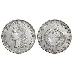 Medellin, Colombia, 20 centavos, 1885, fineness 0.835/0.500, ex-Lozano.