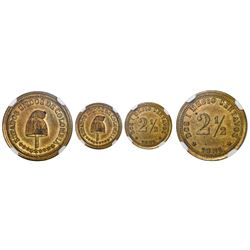 Colombia (struck at the Waterbury mint, Connecticut), brass pattern 2-1/2 centavos, 1881, flat base