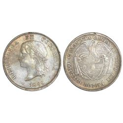 Bogota, Colombia, 50 centavos, 1888, ex-Richard Stuart, ex-Howard Herz.