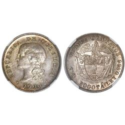 Colombia (struck at the Heaton mint, Birmingham, England), silver proof pattern 20 centavos, 1900, v
