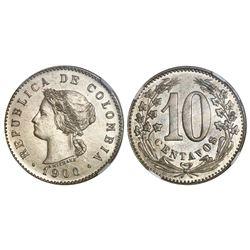 Colombia, proof copper-nickel specimen pattern 10 centavos, 1900, NGC PF 65.