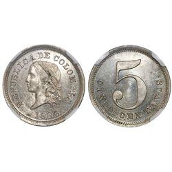 Colombia, copper-nickel pattern 5 centavos, 1886, no wreath, NGC MS 63.