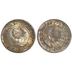 Costa Rica, 1/2 real,  lion  countermark (Type VI, 1849-57) on a Costa Rica (Central American Republ