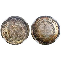 Costa Rica, 5 centavos, 1887GW, NGC MS 64, ex-Whittier.
