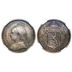 Cyprus, 18 piastres, 1901, Victoria, NGC VF 35.