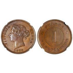 Cyprus, bronze 1 piastre, Victoria, 1879, NGC MS 64 BN.