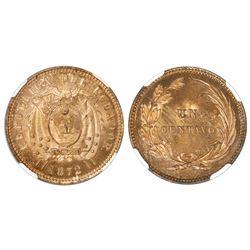 Ecuador (struck at the Heaton mint, England), specimen copper 1 centavo, 1872, NGC SP 65 RB.