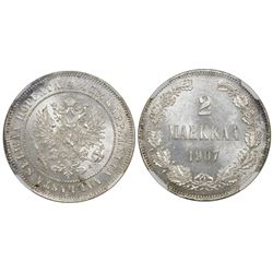 Finland (as a Russian duchy), 2 markkaa, 1907-L, Nicholas II, NGC MS 63.