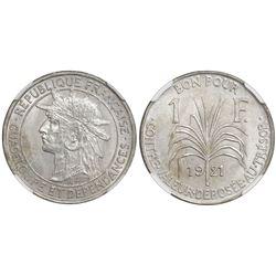 Guadeloupe, 1 franc, 1921, NGC MS 65.