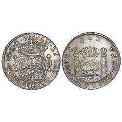 Guatemala, pillar 8 reales, Ferdinand VI, 1758J, PCGS AU detail / graffiti.