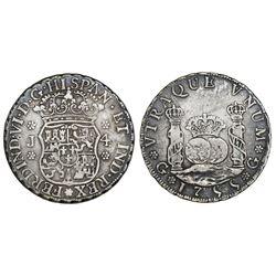 Guatemala, pillar 4 reales, Ferdinand VI, 1755J, large J.