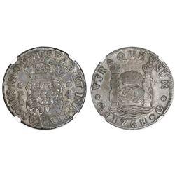 Guatemala, pillar 4 reales, Charles III, 1768P, NGC VF 25, ex-Richard Stuart (stated on label).