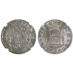 Guatemala, pillar 4 reales, Charles III, 1768P, NGC VF 25, ex-Richard Stuart (stated on label).