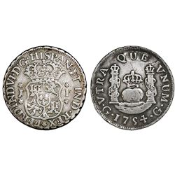 Guatemala, pillar 1 real, Ferdinand VI, 1754J.