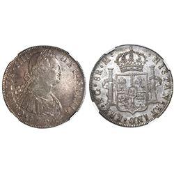 Guatemala, bust 8 reales, Charles IV, 1794M, NGC AU 55.