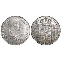 Guatemala, bust 8 reales, Ferdinand VII, 1819M, NGC AU 58.