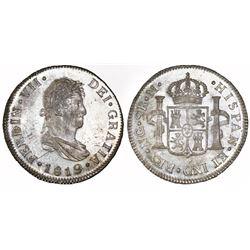 Guatemala, bust 2 reales, Ferdinand VII, 1819M, NGC MS 63.