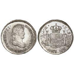 Guatemala, bust 1/2 real, Ferdinand VII, 1813M, rare, NGC AU 58.