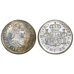 Guatemala, bust 1/2 real, Ferdinand VII, 1820M, NGC MS 65.